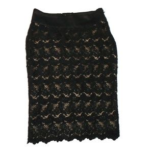 Bebe Pencil Skirt Floral Lace Laced Up Back Black